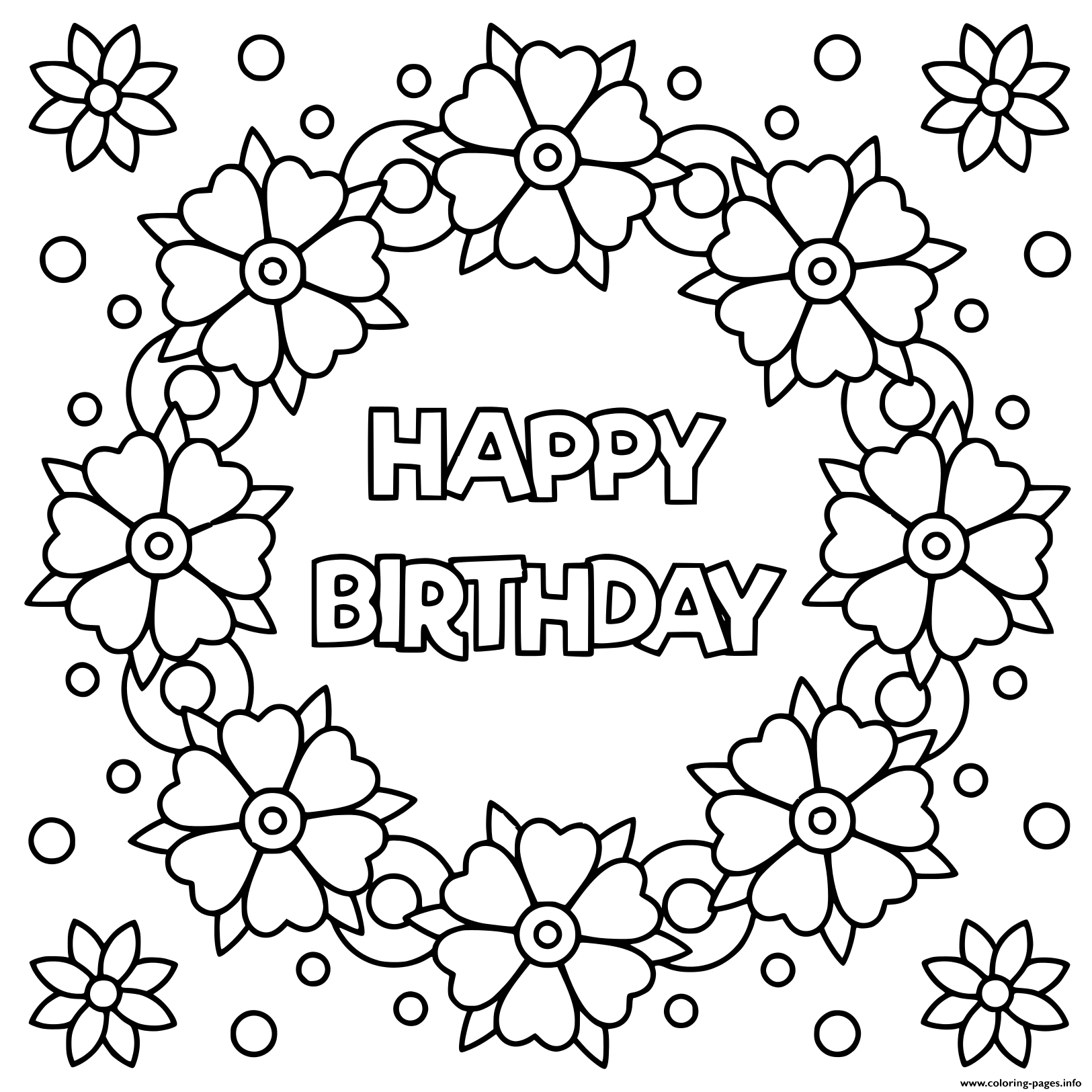 Floral Wreath For Happy Birthday Coloring Pages Printable
