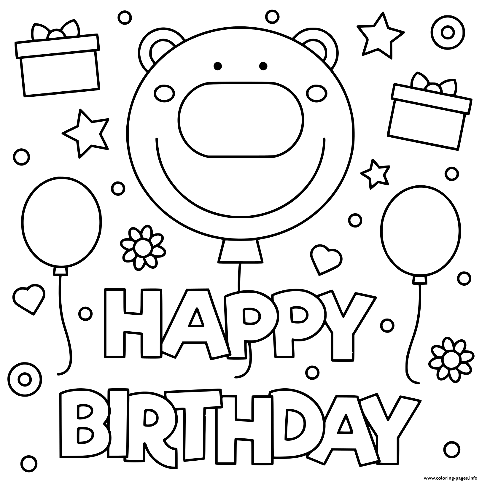 Happy Birthday Smile Kids Illustration Coloring Pages ...