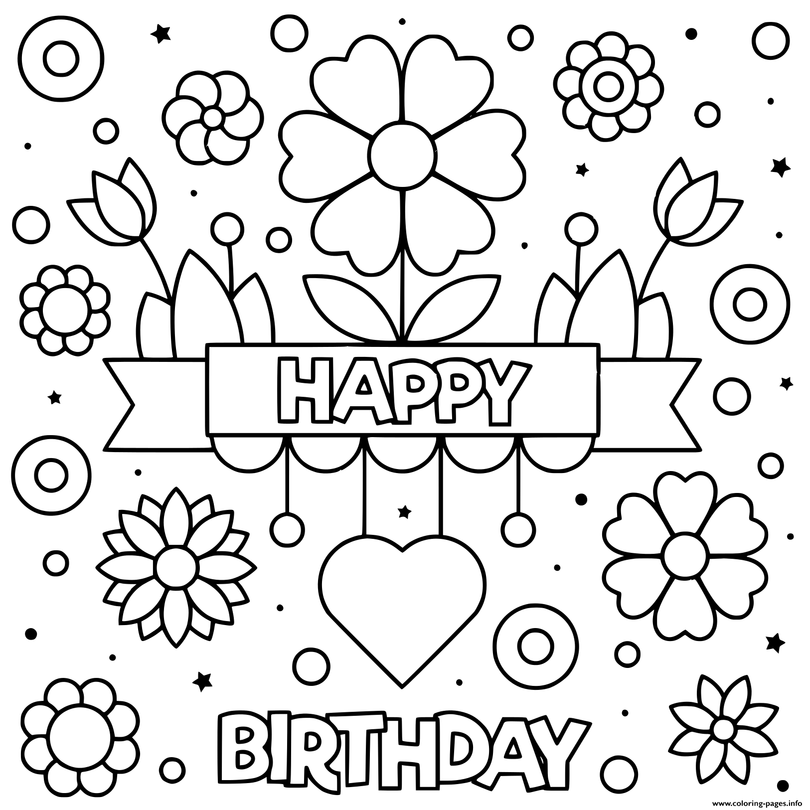 Happy Birthday Mom Love Flowers Heart Coloring Pages Printable