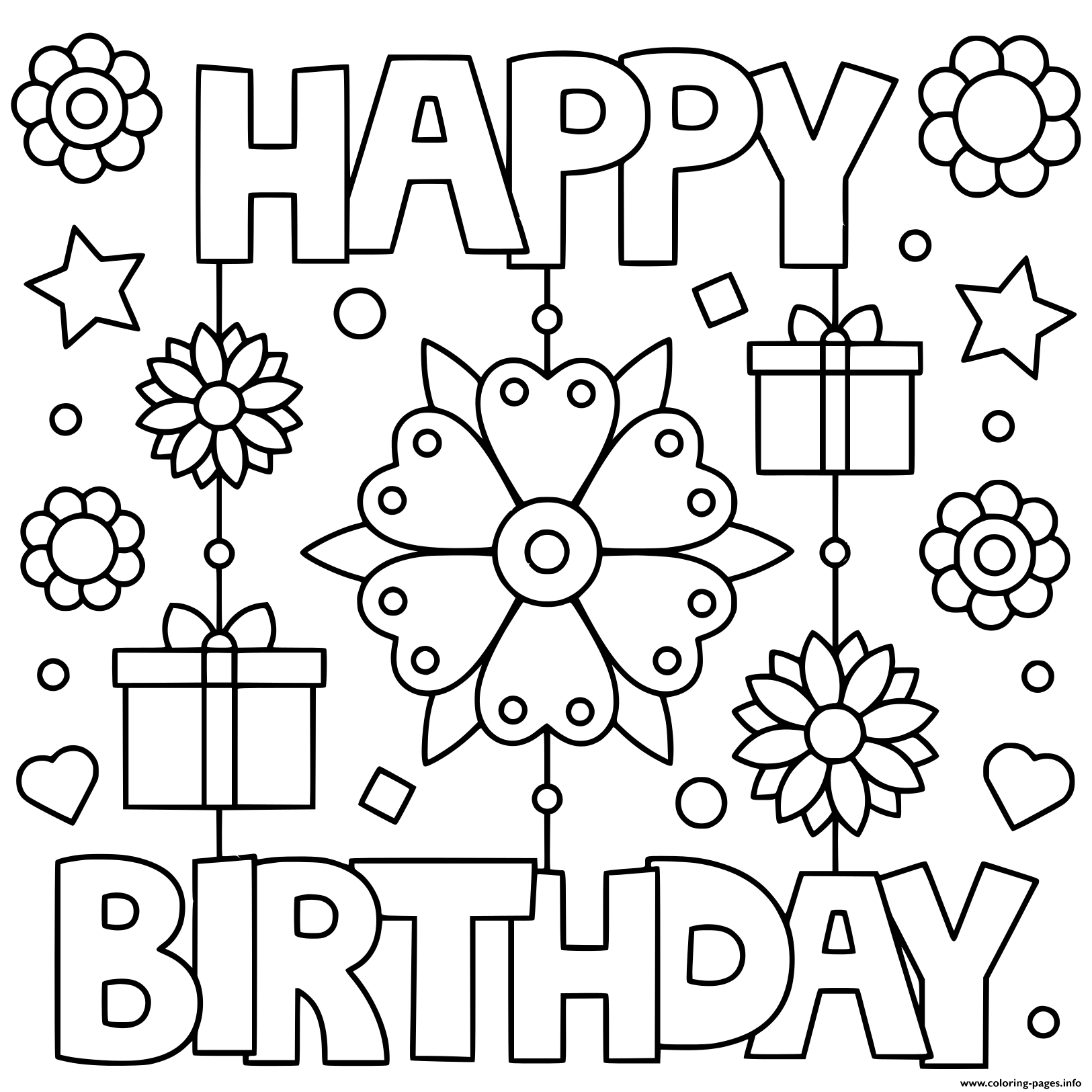 Happy Birthday Black And White Cute Coloring Pages Printable