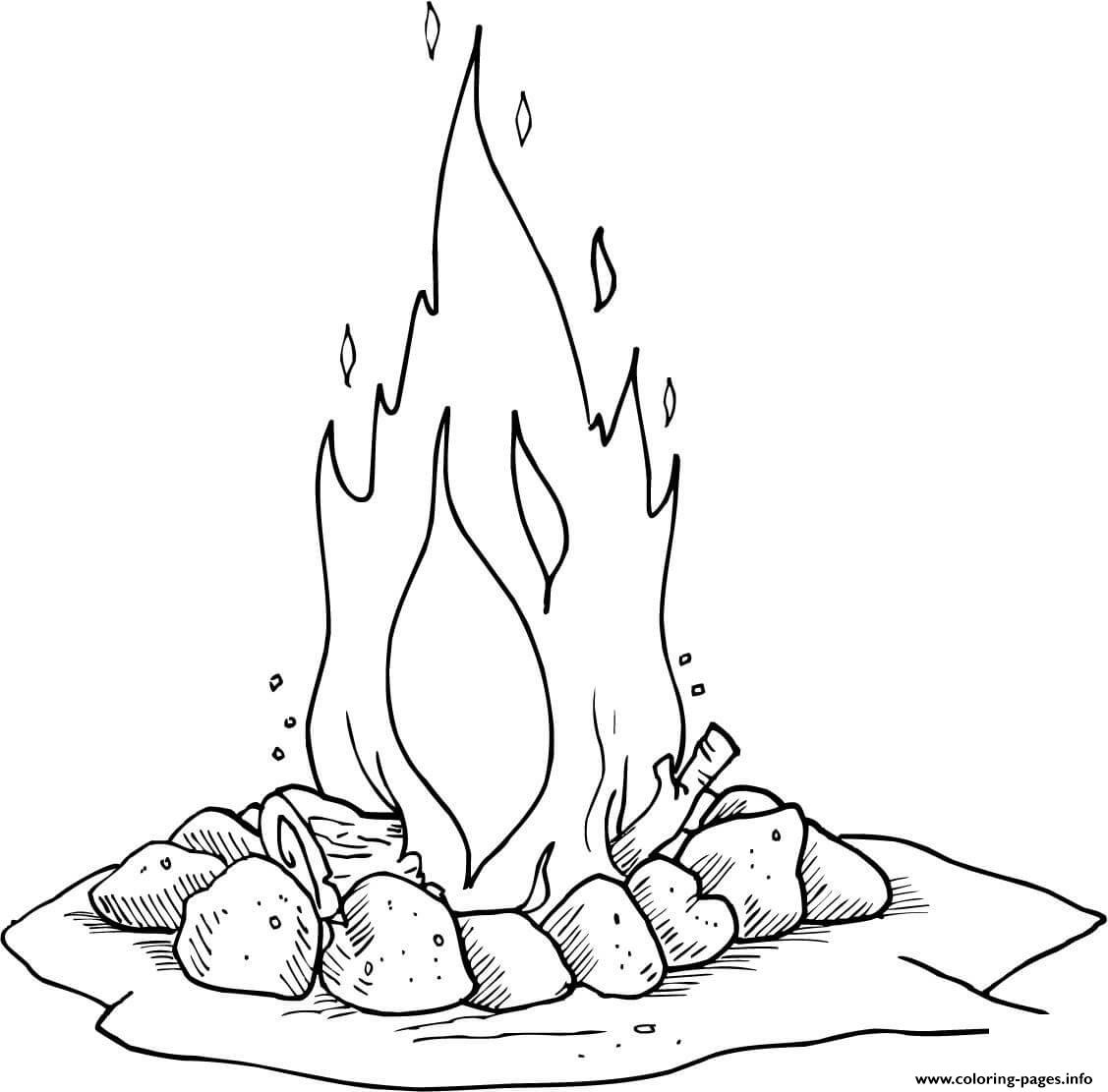 Kleurplaten Pokimon Bal Campfire Camping Fire Coloring Pages Printable