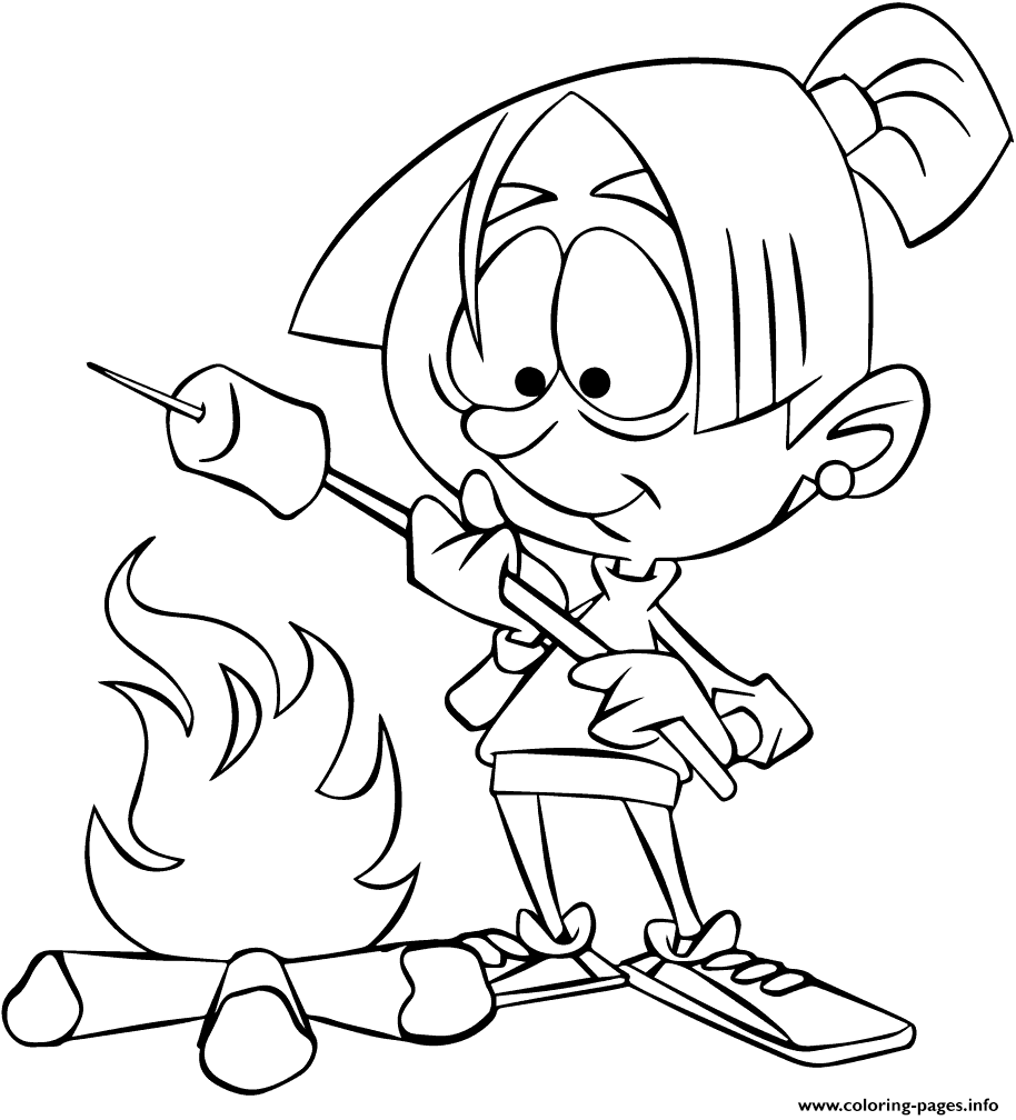 - Girl Roasting Marshmallow Over Camp Fire Camping Coloring Pages