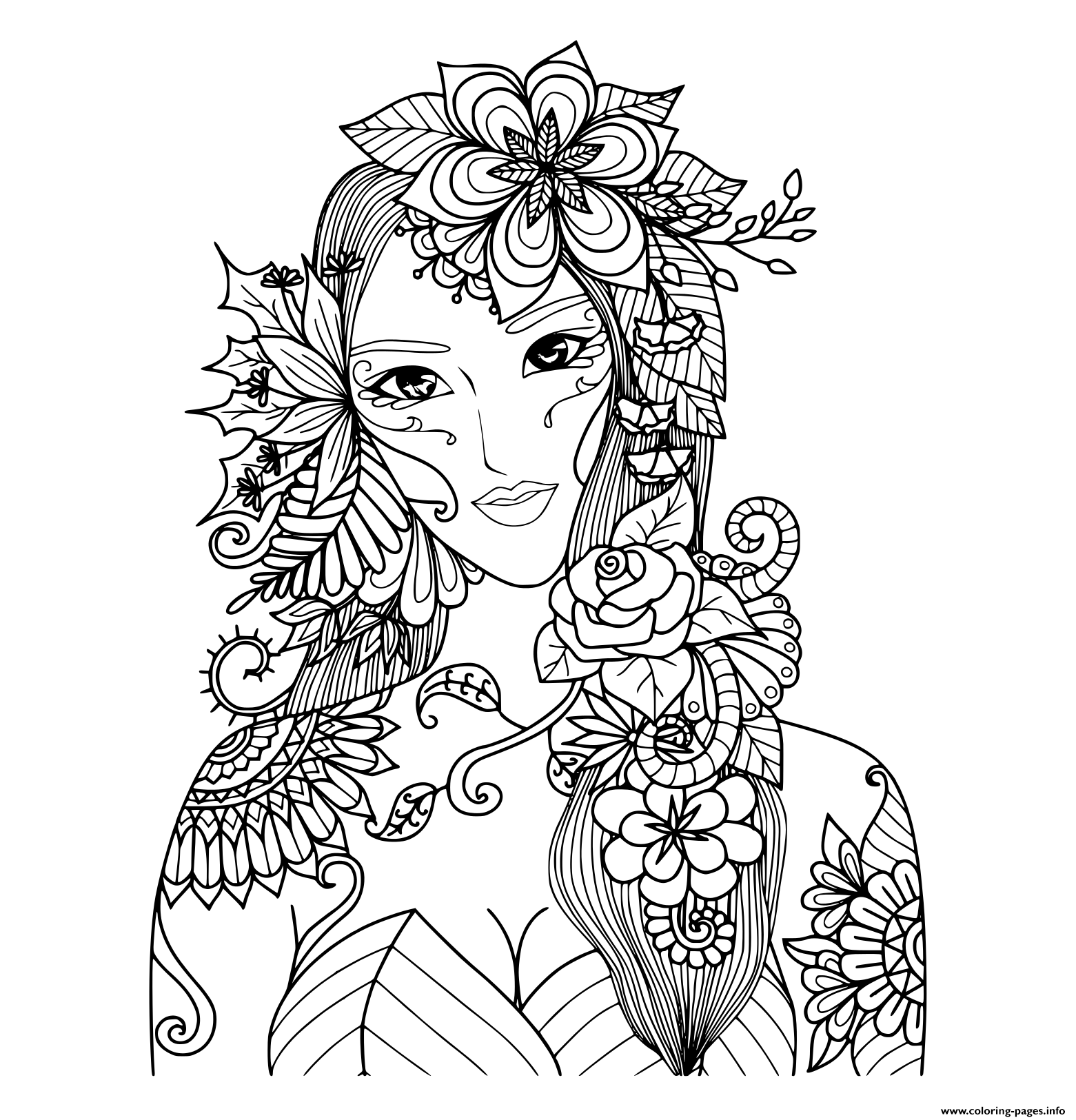 Beautiful Fairy Of The Forest Adult coloring pages