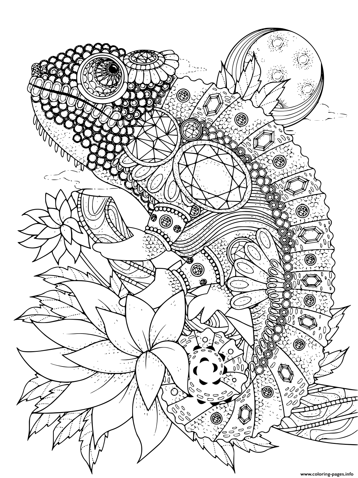 Adult Animal Chameleon Decorated To Jewelry Coloring Pages