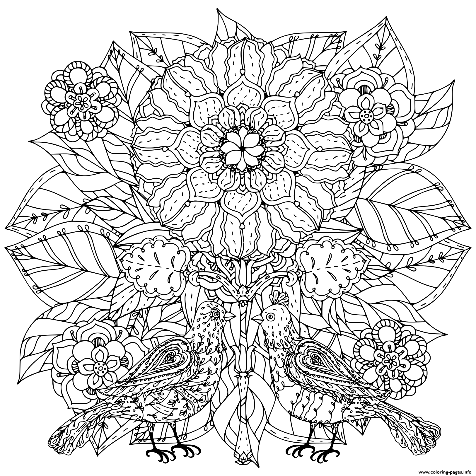 Flowers And Of Butterflies For Adult Art Therapy Coloring Pages