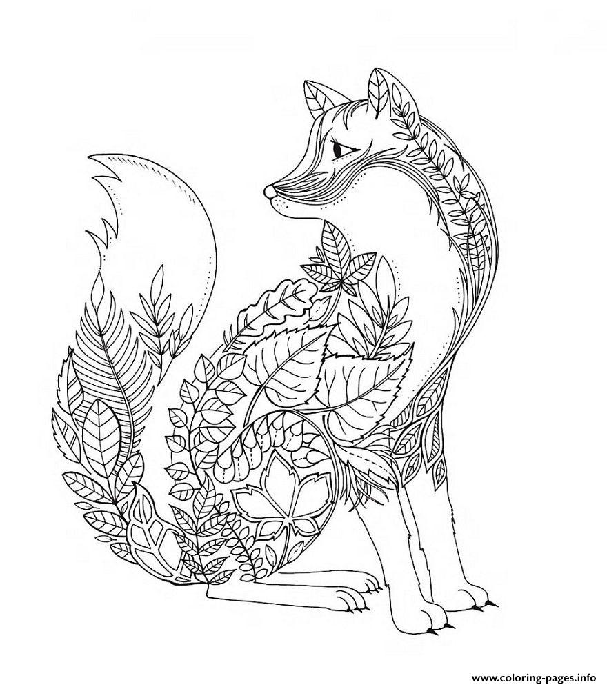 Fox In Form Of Leaves And Vegetation Forest Adult coloring pages