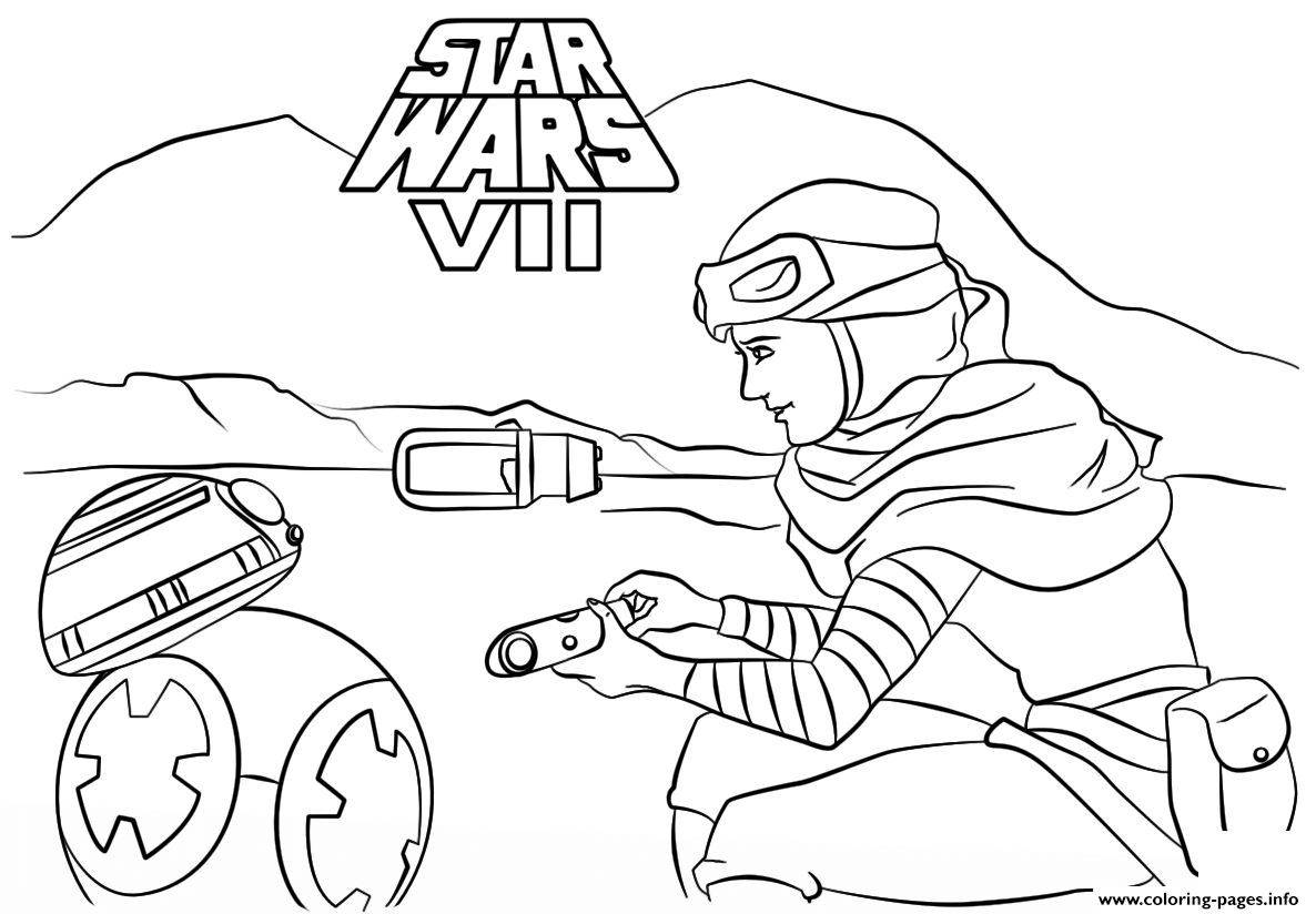 Rey And Bb 8 Star Wars Episode VII The Force Awakens coloring pages