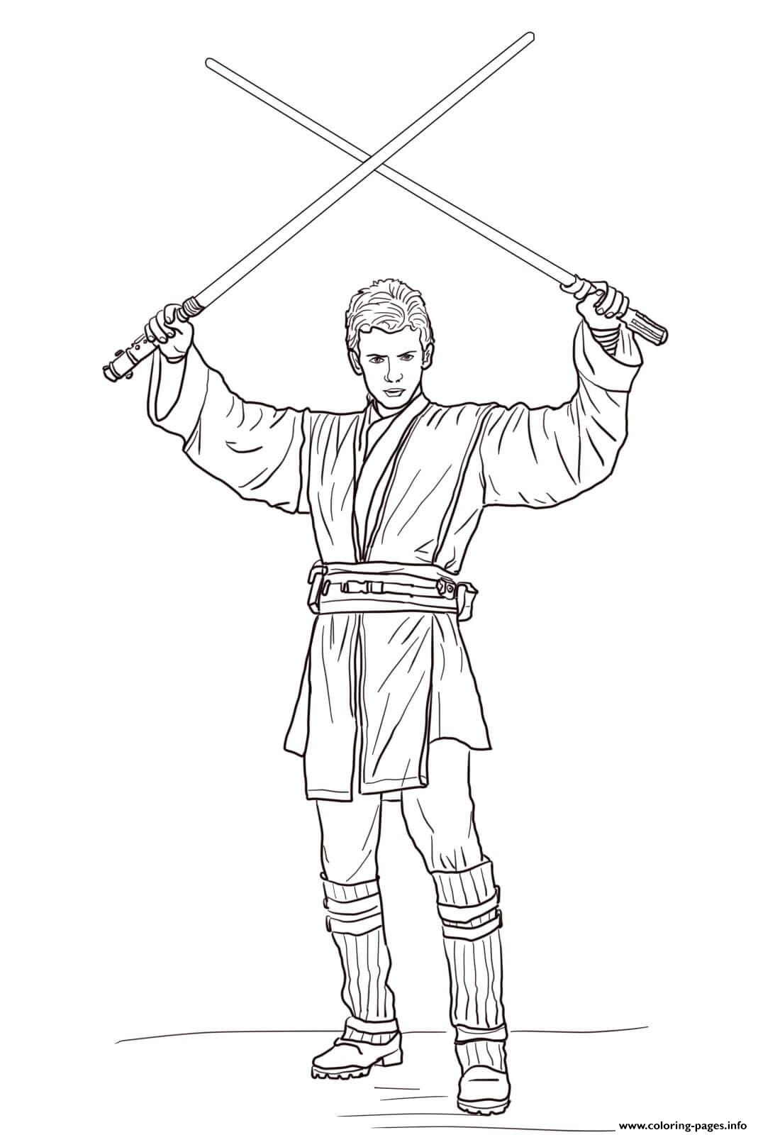 Anakin Skywalker With Lightsabers Star Wars Episode II Attack Of The Clones coloring pages