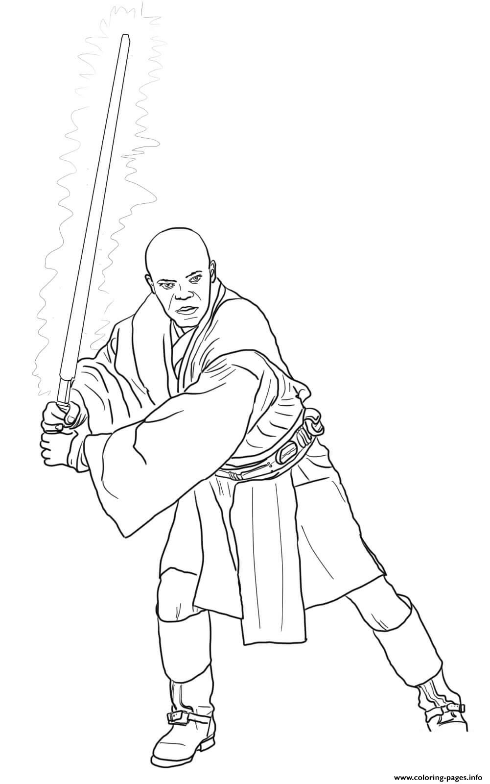 Mace Windu Star Wars Episode II Attack Of The Clones coloring pages