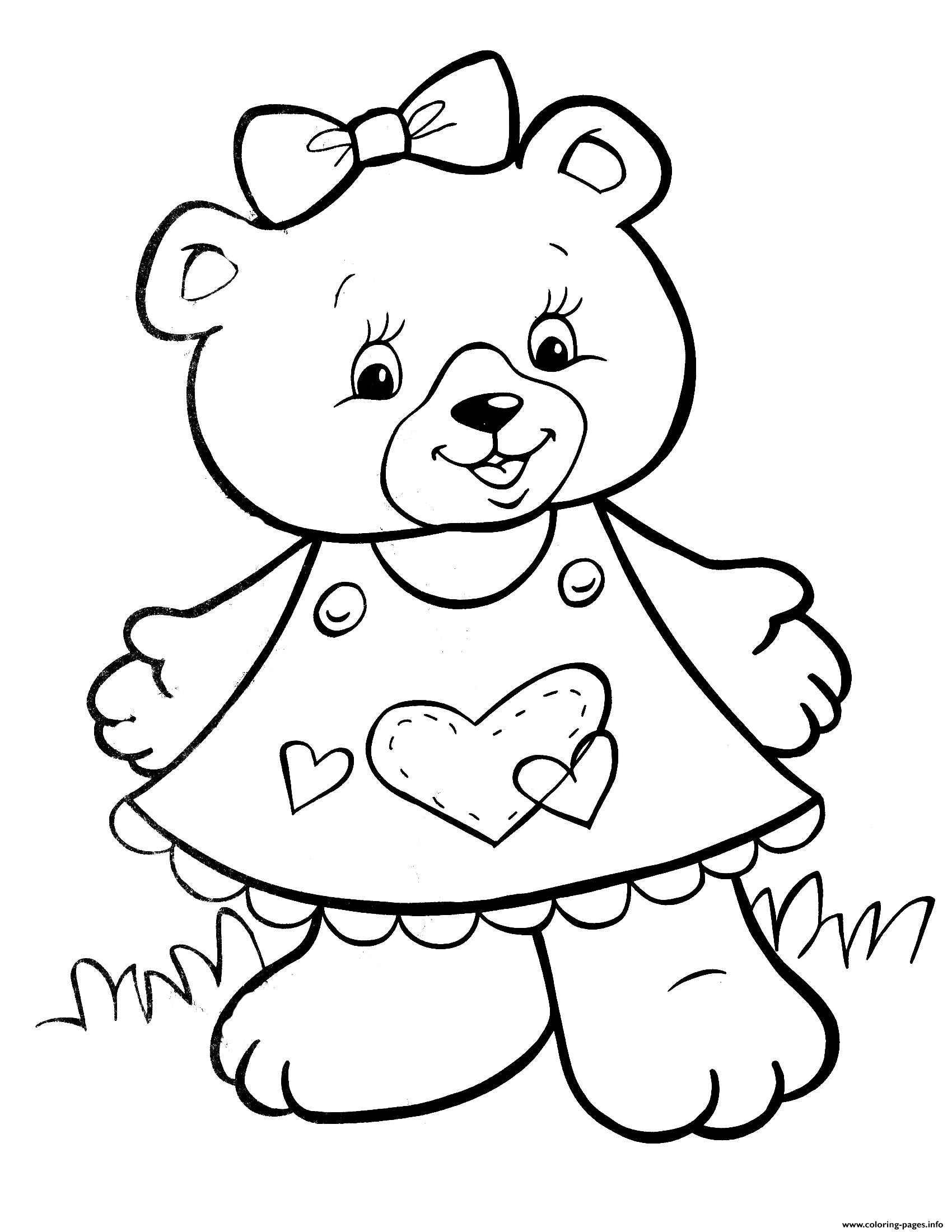 Crayola Lovely Teddy Bear Girls Coloring Pages Printable