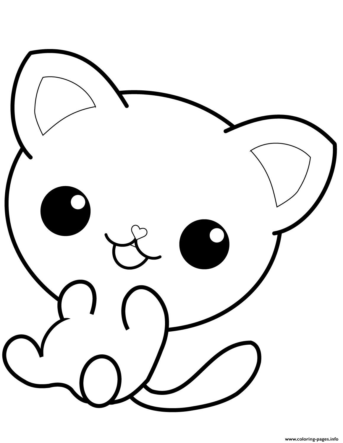graphic regarding Cat Coloring Pages Printable titled Kawaii Kitty Cat Coloring Webpages Printable
