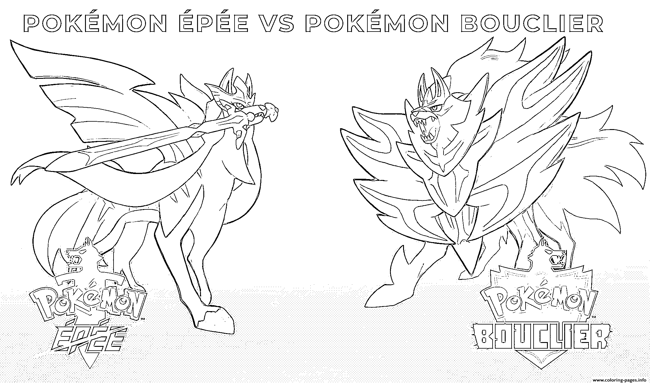 Pokemon Sword Vs Pokemon Shield 2019 Coloring Pages Printable
