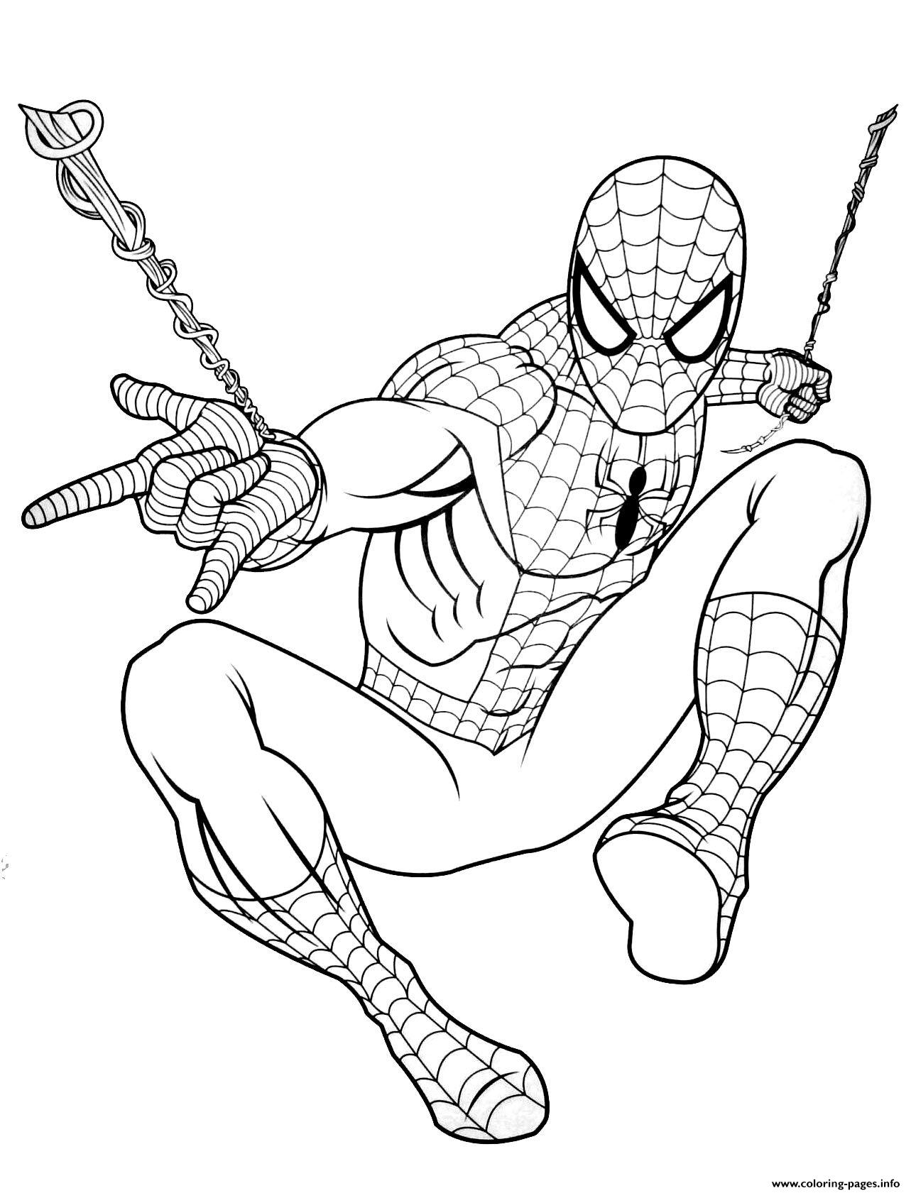 Spider Man Far From Home Jump Coloring Pages Printable