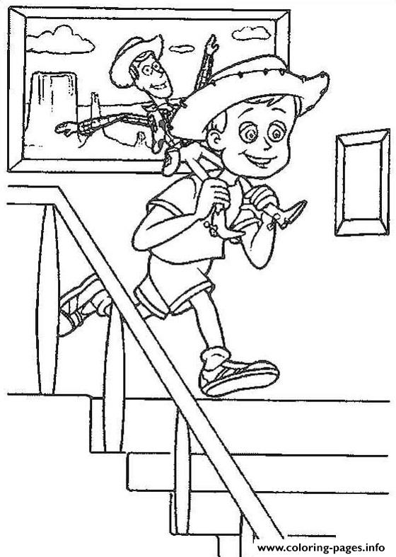 Andy With Woody Sheriff Coloring Pages Printable