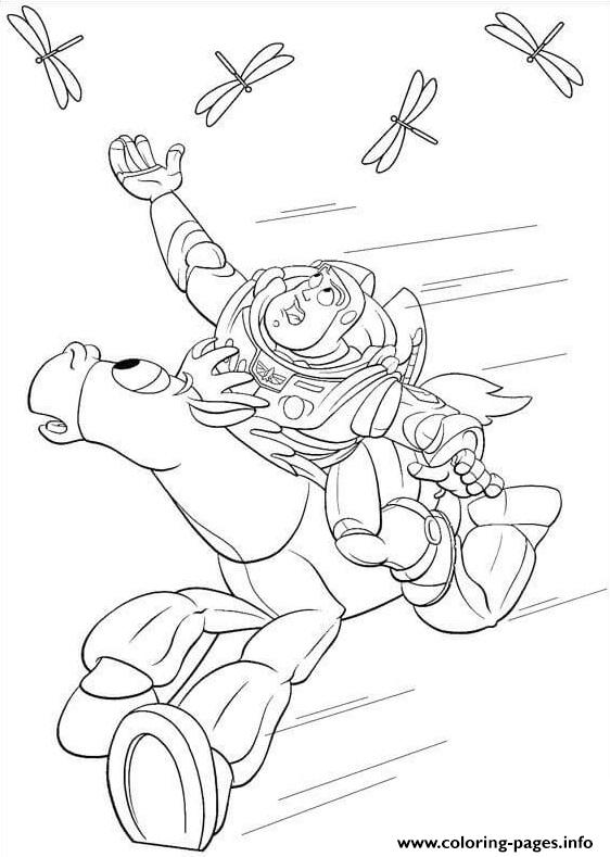 Buzz Try To Catch The Dragonfly coloring pages