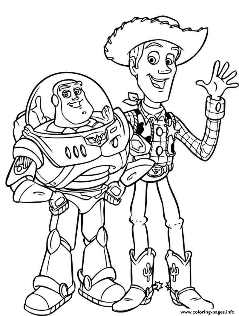 Buzz Lightyear And Woody Sheriff Hello Coloring Pages