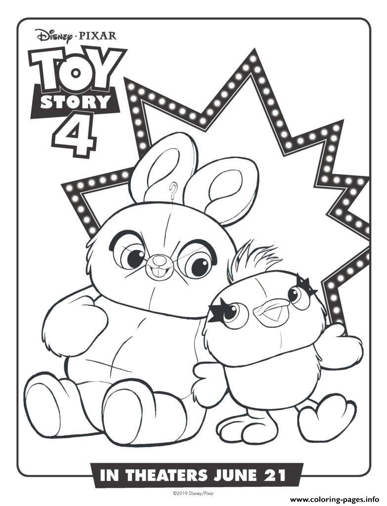 Bunny And Ducky Toy Story 4 Coloring Pages Printable