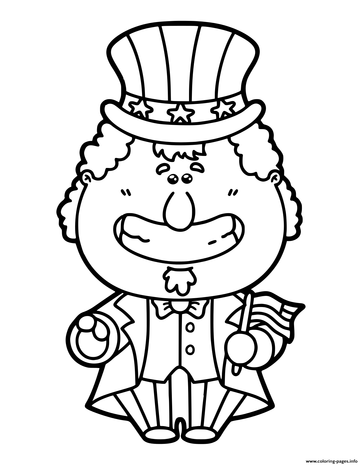 Funny Uncle Sam Cartoon Which Is Holding America coloring pages