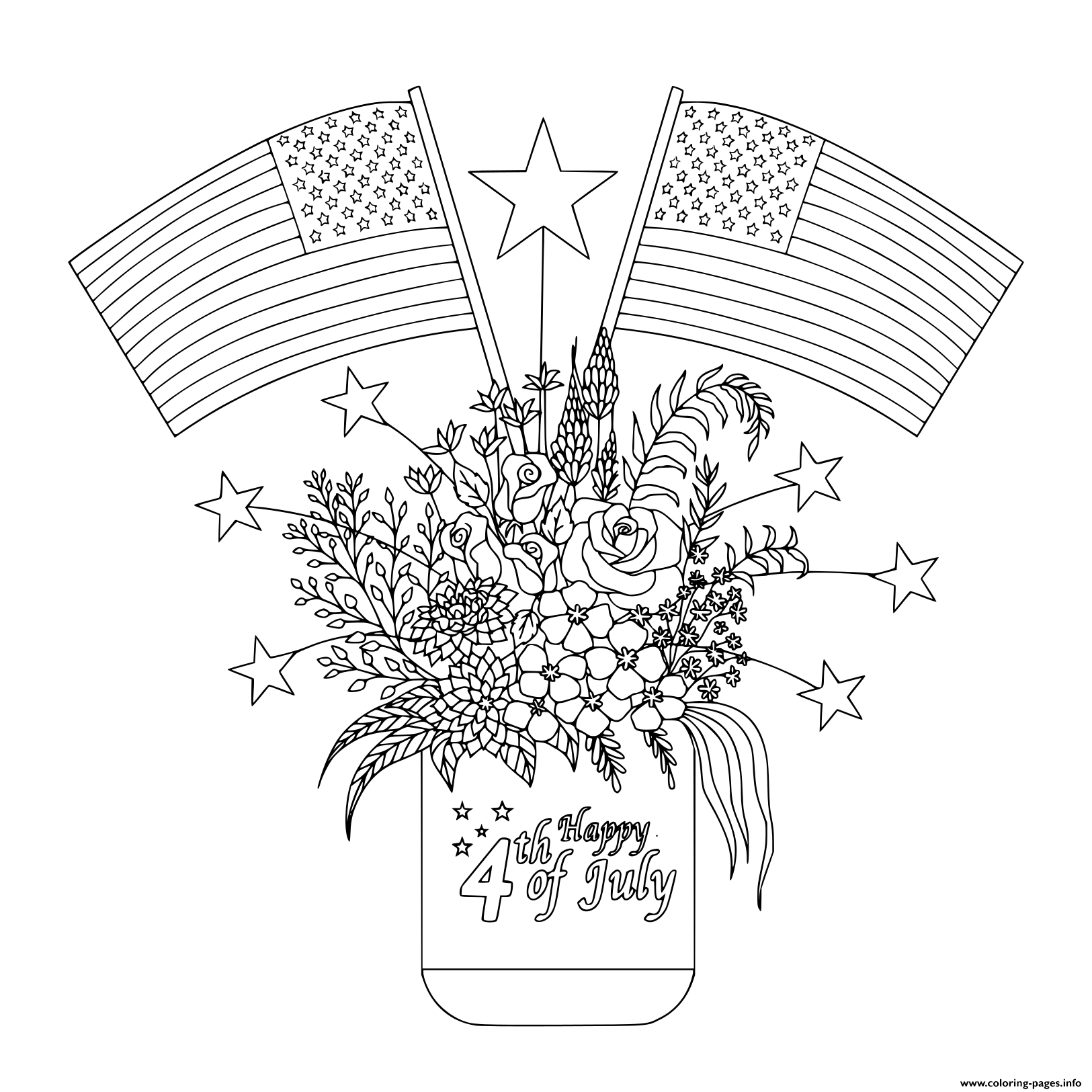 American Flags On Flowers And Decorations On A Mason Jar