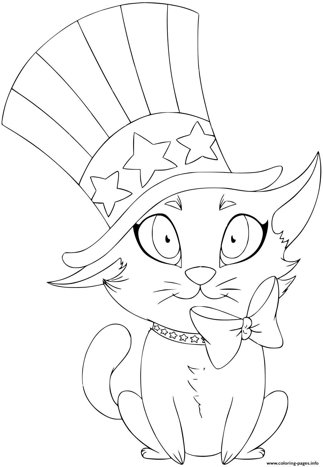 A Kitten Wearing A Hat And Bow Designed As The American Flag coloring pages