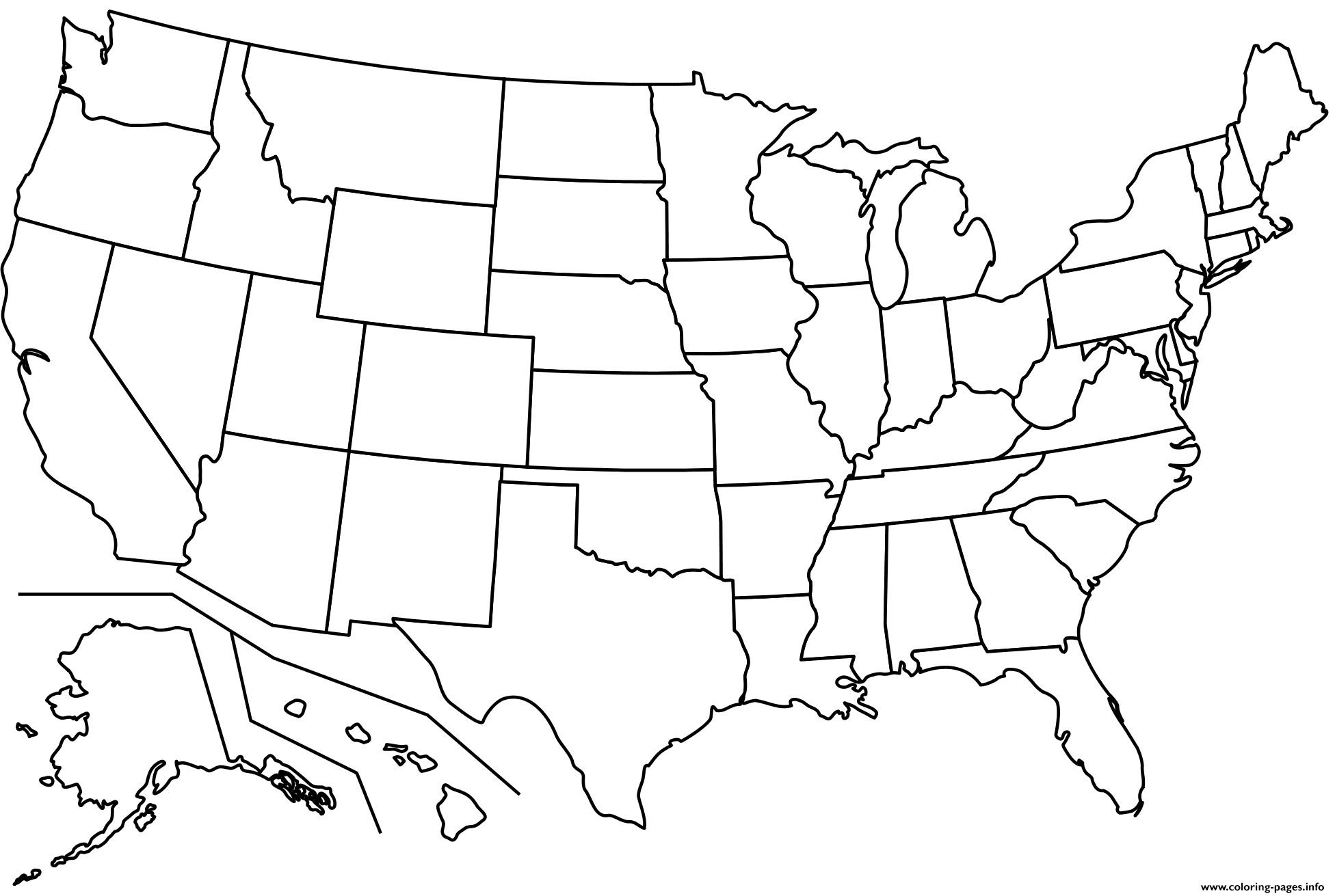 Outline Map Of Us States coloring pages