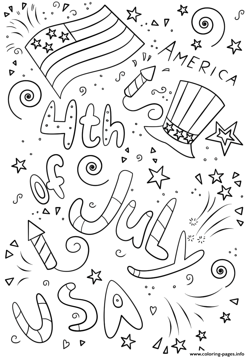 4th Of July Doodle By Lena London coloring pages