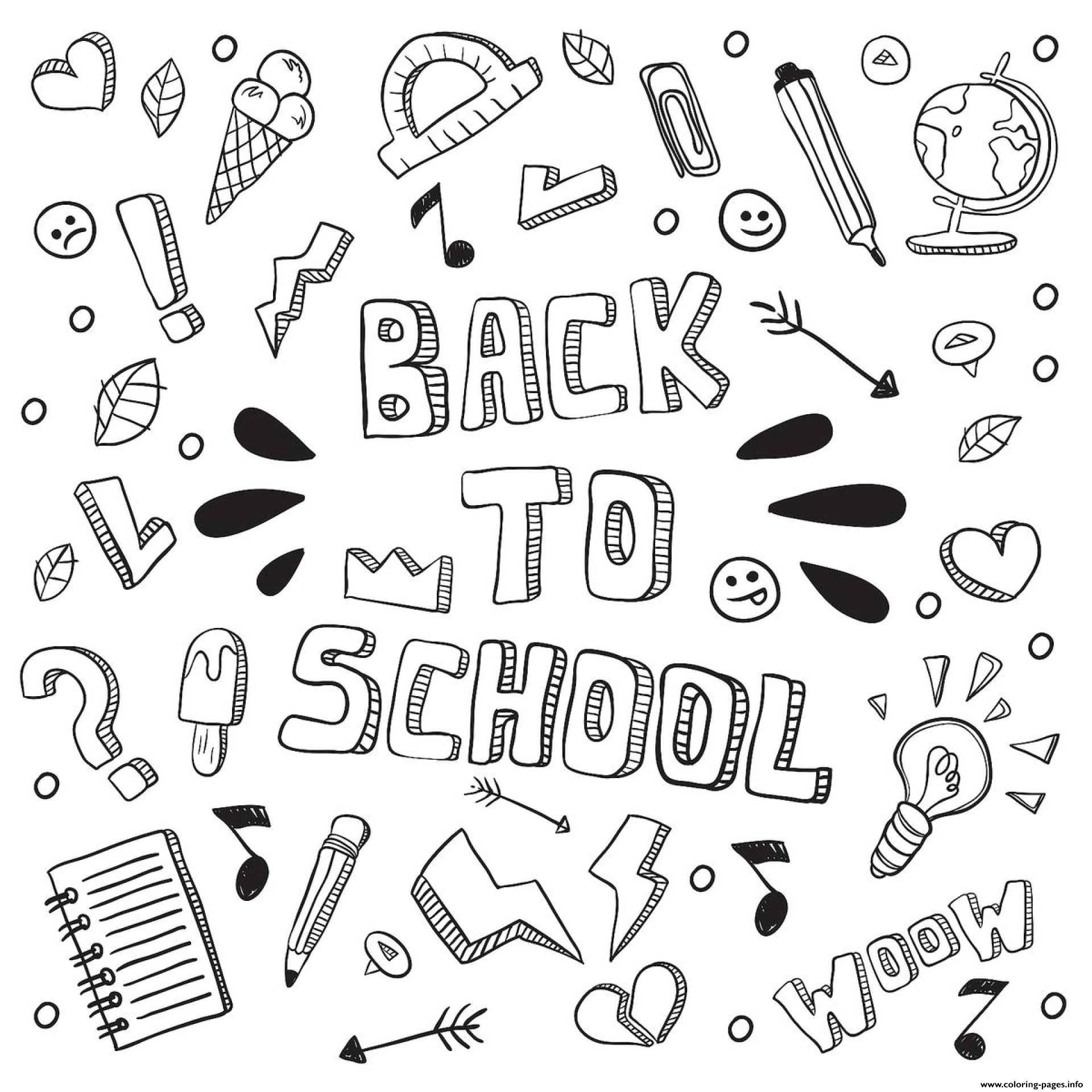 Word Back To School Fun coloring pages