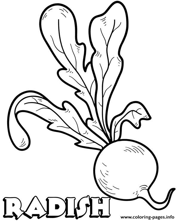 Vegetable Radish Coloring Pages
