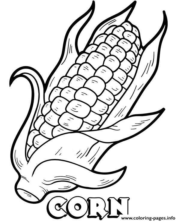 Vegetable Corn Coloring Pages Printable