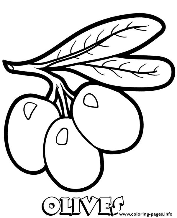 Vegetable Olives Coloring Pages Printable