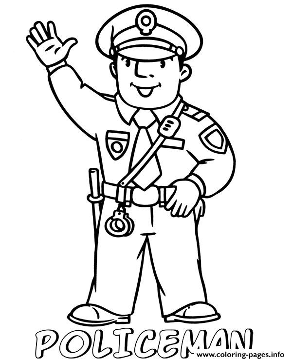 Policeman For Children Coloring Pages Printable