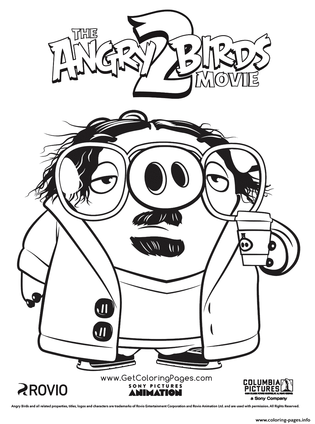 Garry Pig In Glasses Coloring Pages Printable