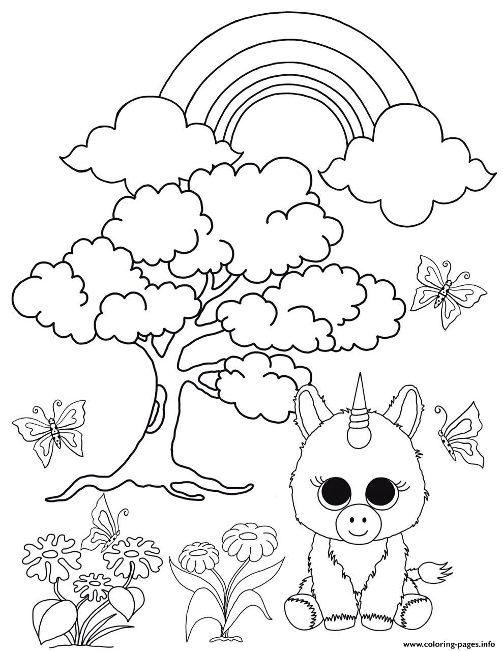 Unicorn Enchanted Forest Beanie Boo Coloring Pages Printable