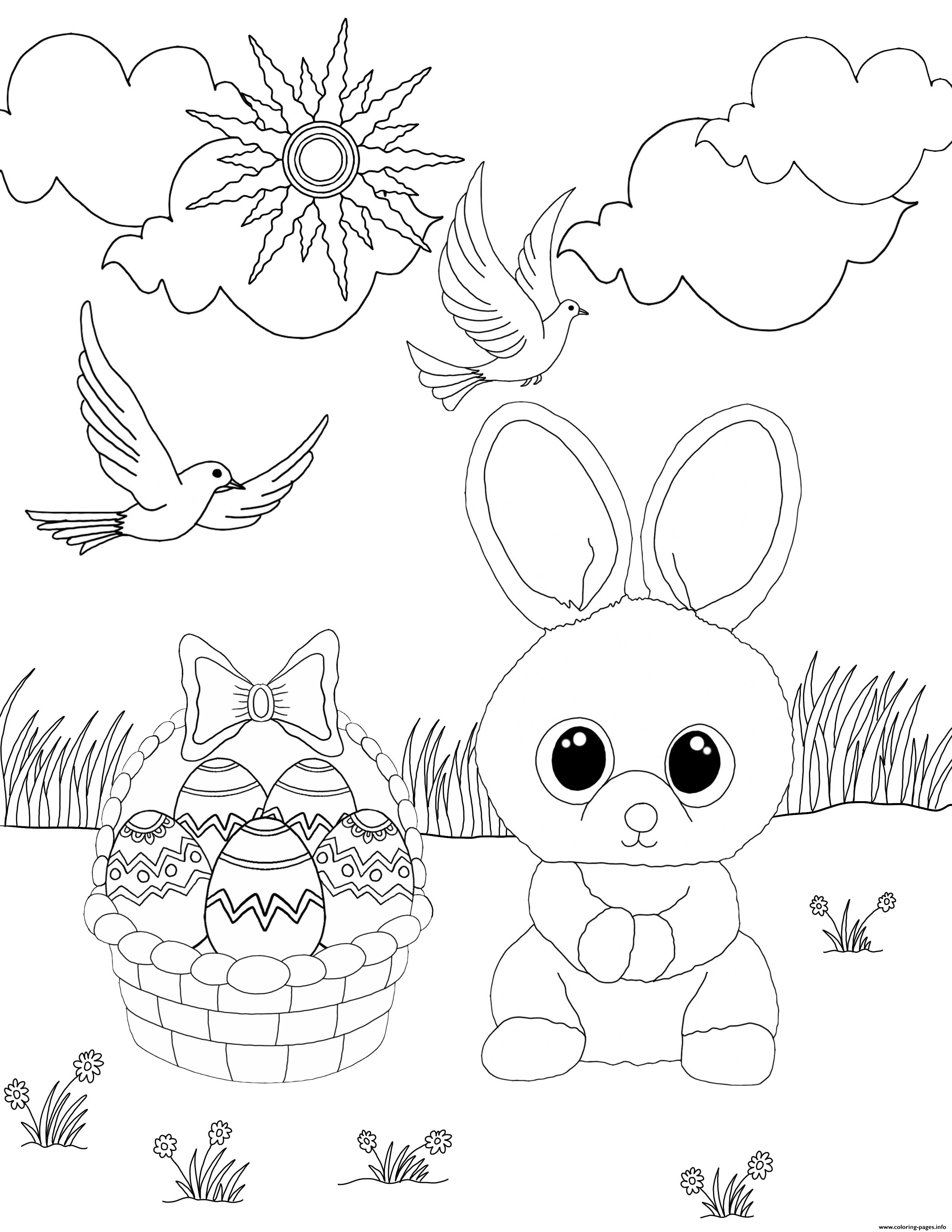 Beanie Boo Easter Eggs Rabbit Coloring Pages Printable