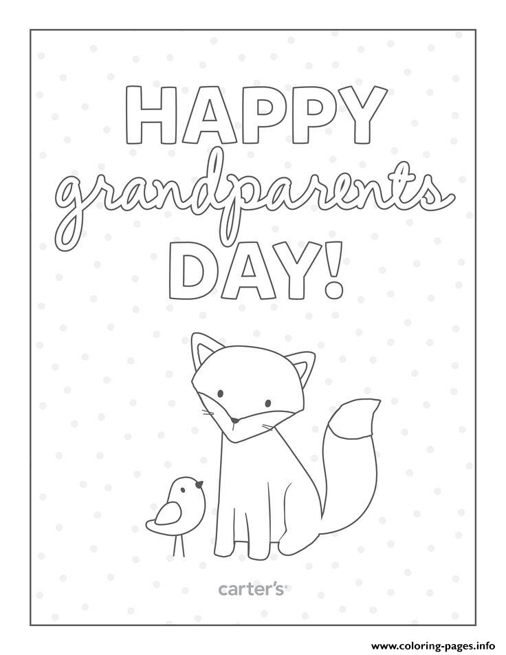 Happy Grandparents Day Card To Color Coloring Pages Printable