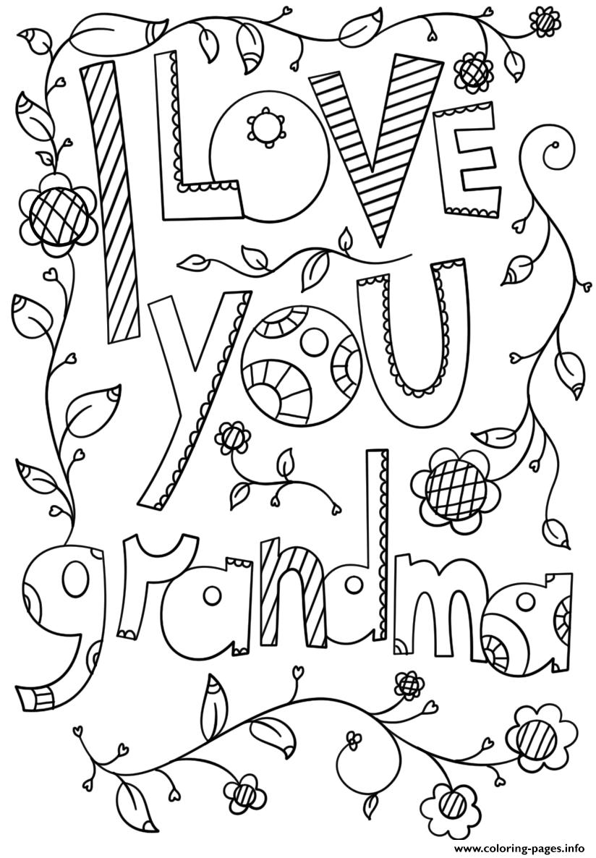 I Love You Grandma 2 Coloring Pages Printable