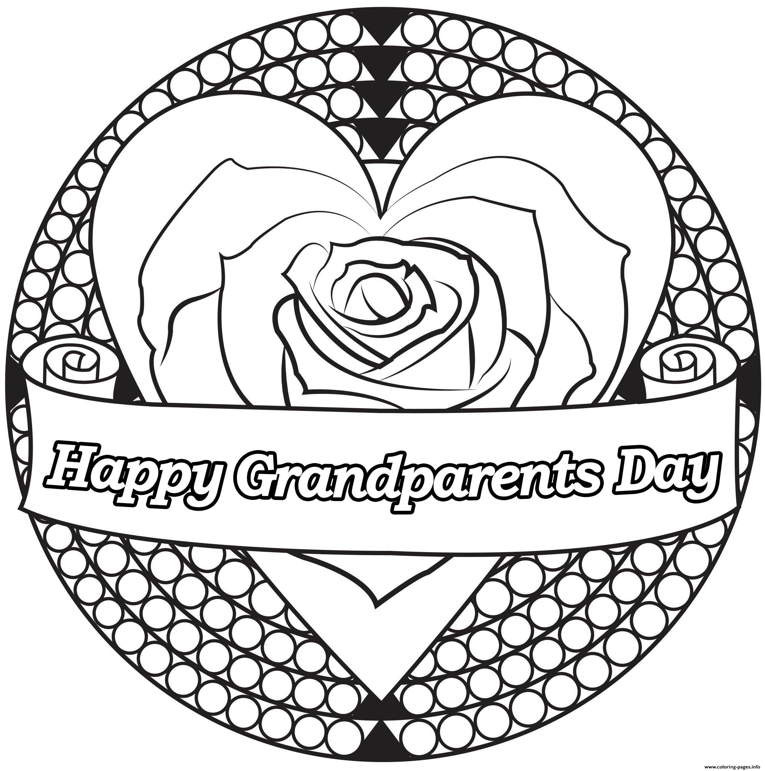 - Heart Flower Grandparents Day Coloring Pages Printable