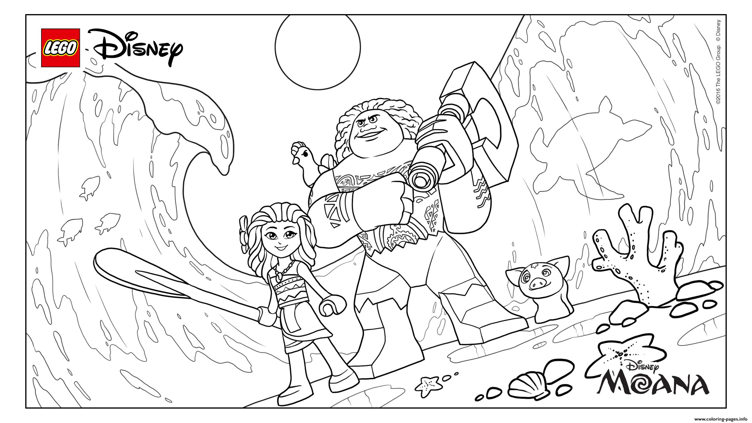 LEGO Moana Movies With Maui Pig Pua Beach coloring pages