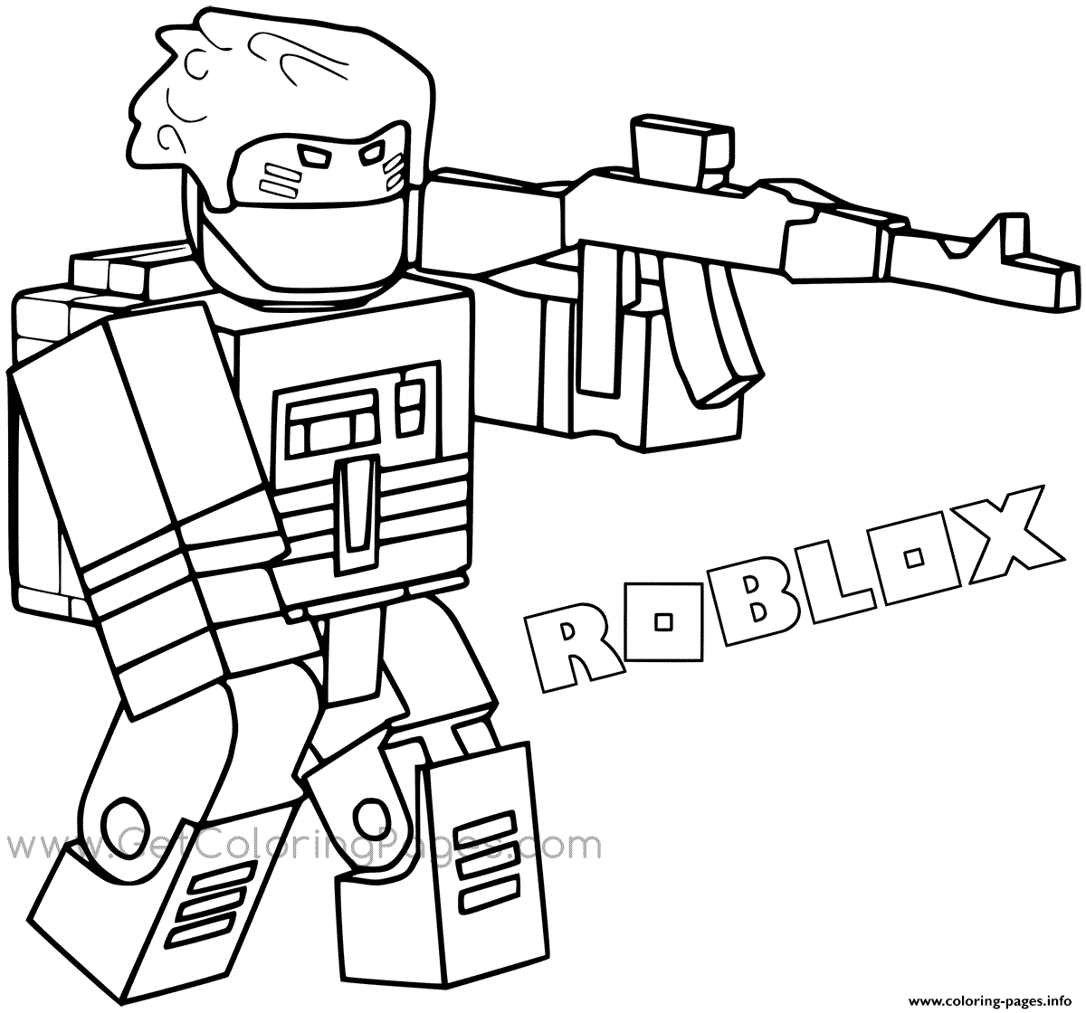 Roblox Bandit With Weapon And Backpac Coloring Pages Printable