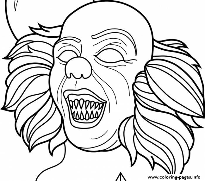 Scary Clown Pennywise Horror Coloring Pages Printable