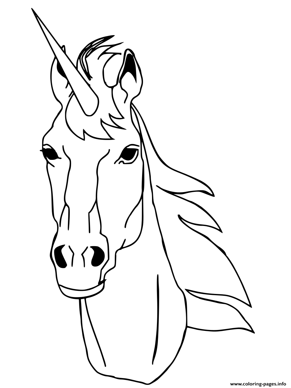Realistic Unicorn Head Coloring Pages Printable