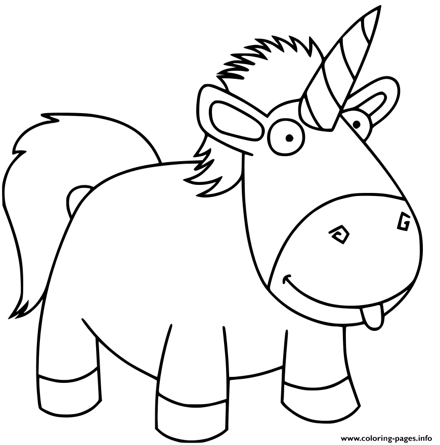 - Funny Unicorn Kids Coloring Pages Printable
