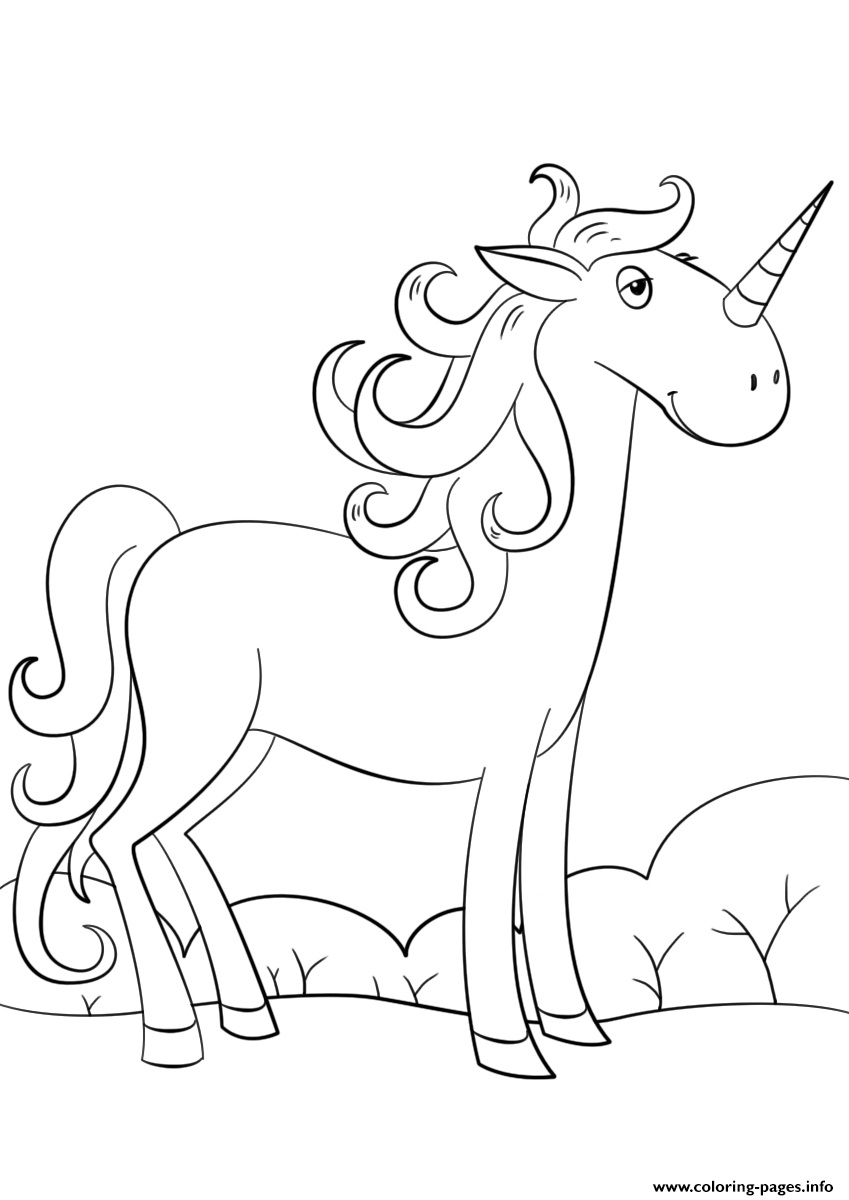 Cute Cartoon Unicorn By Lena London coloring pages