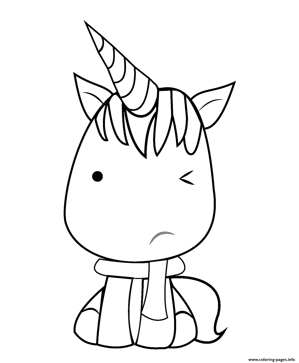 Kawaii Unicorn Coloring Page Coloring Pages Printable
