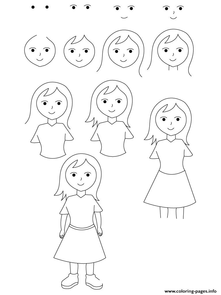 How To Draw A Girl Coloring Pages Printable