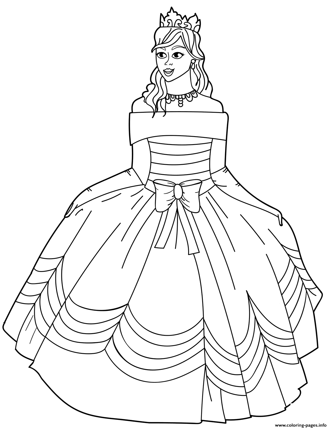 Princess In Ball Gown Off The Shoulder Dress Coloring