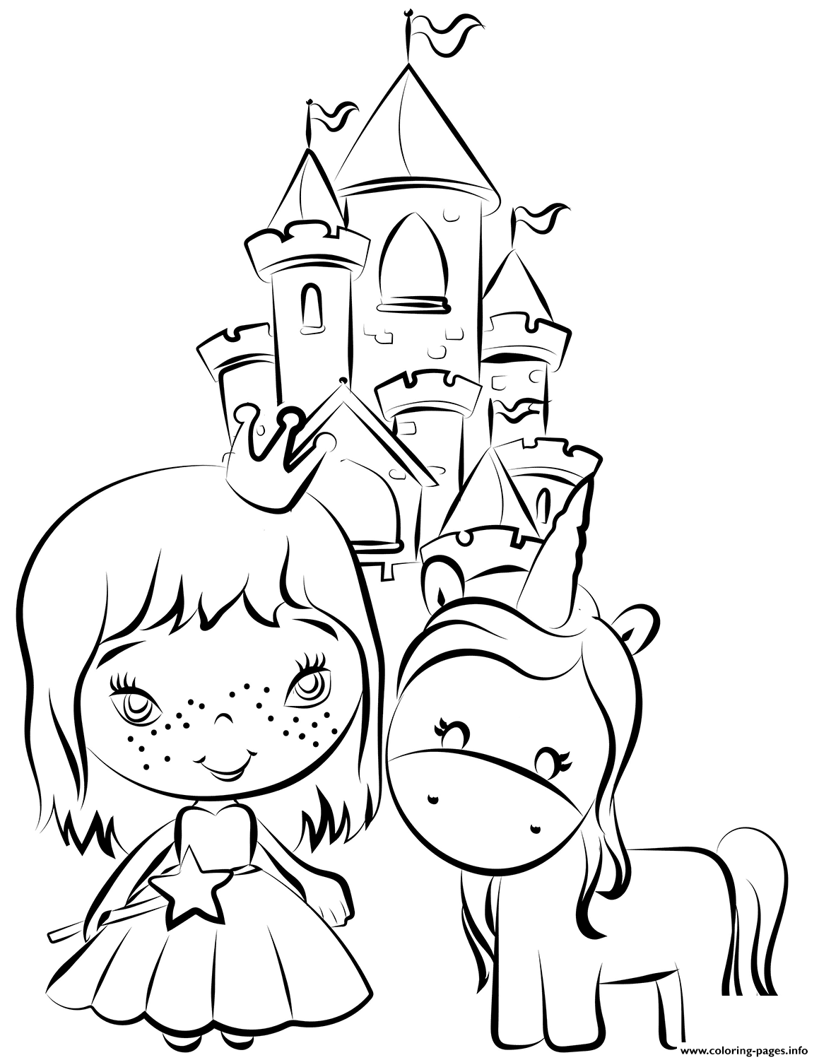 Pincess And Unicorn Near Castle Coloring Pages Printable