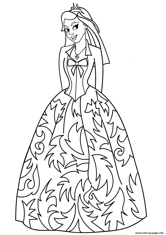 Princess Fancy Dress Coloring Pages Printable