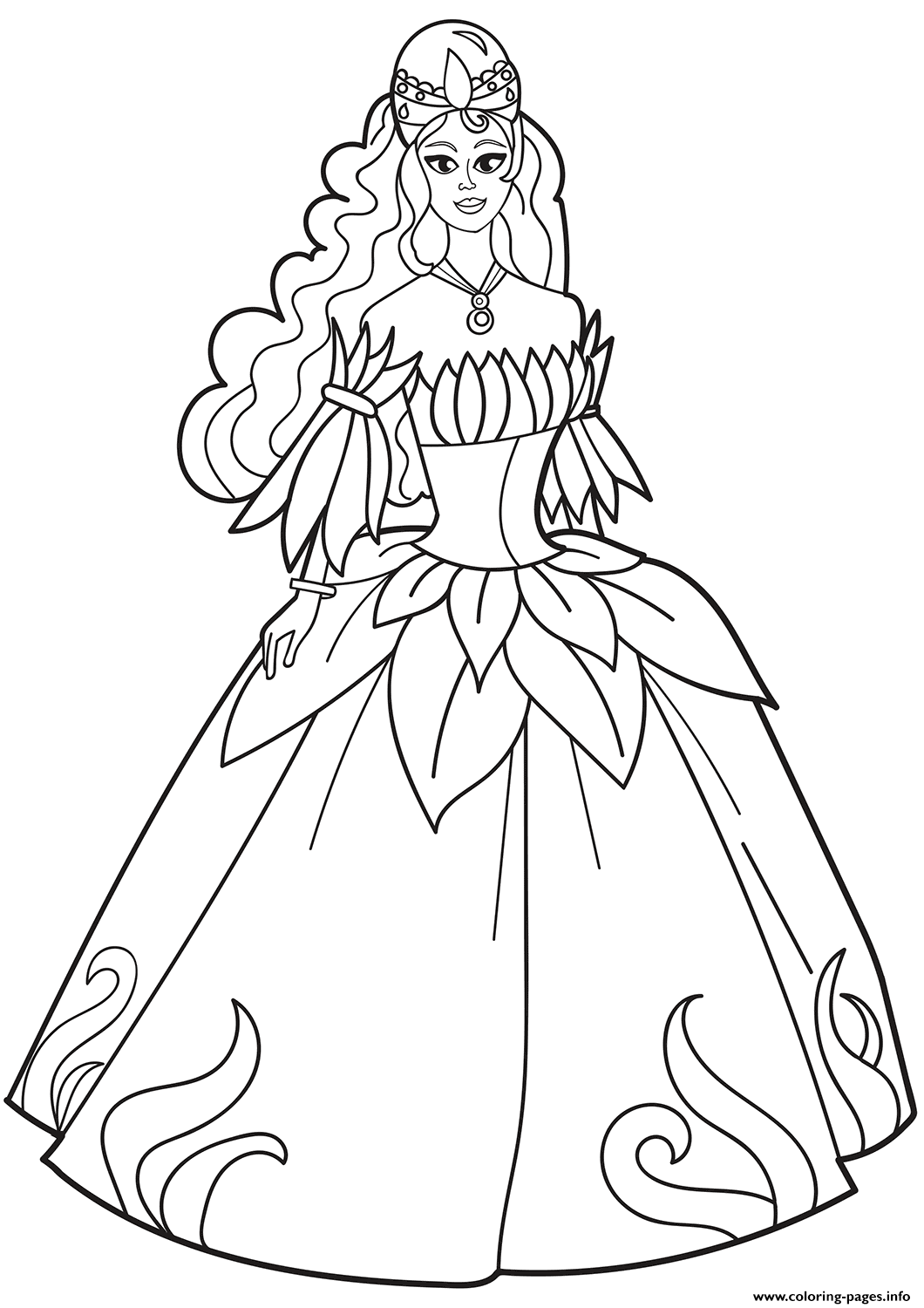 Princess In Flower Dress Coloring Pages Printable
