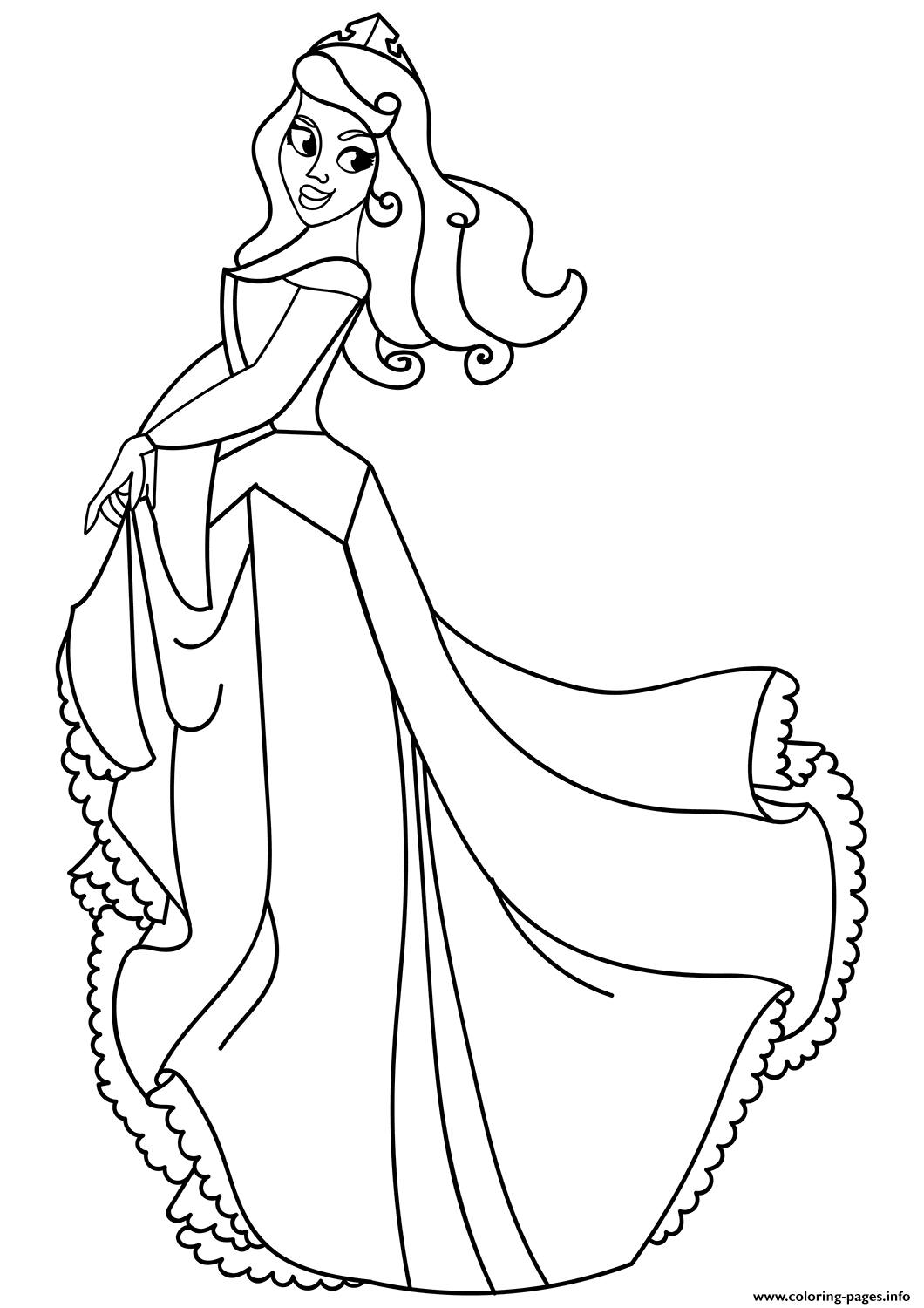 Princess Beautiful Dress Coloring Pages Printable